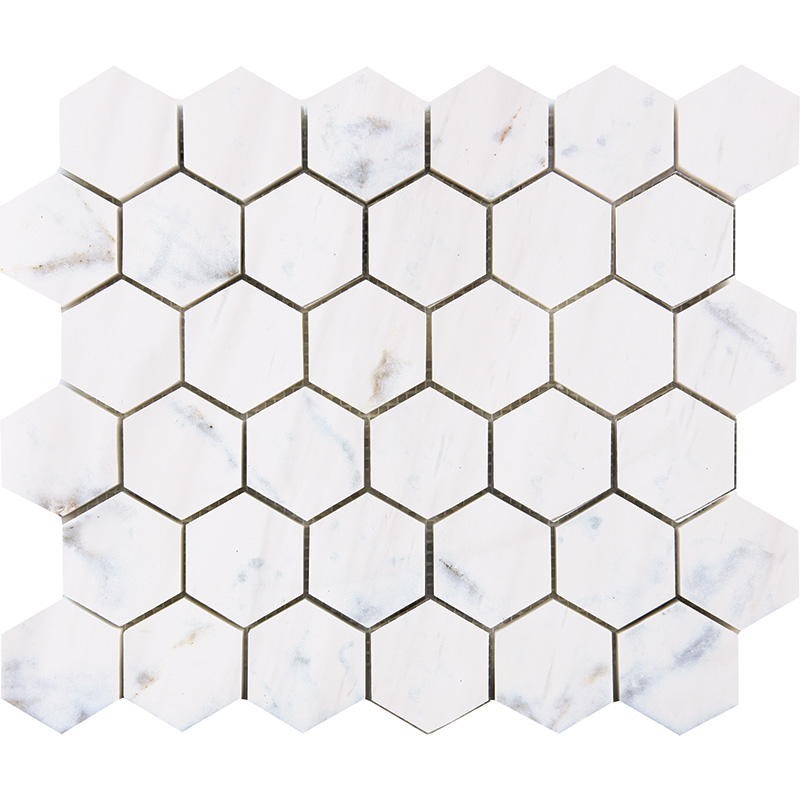 "BIANCO DOLOMITI MOSAICS POLISHED 2"" HEXAGON"